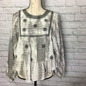 Zara Woman Grey Tie Dye Embroidered Beaded Blouse